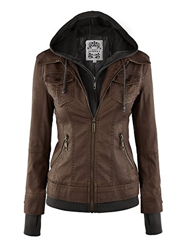 LL Womens 2-For-One Hooded Faux leather Jacket L COFFEE