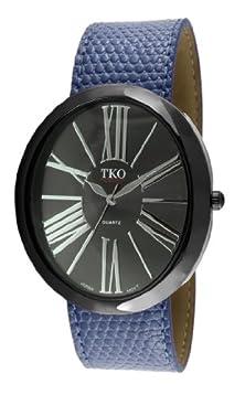 buy Tko Orlogi Women'S Tk617-Bbl Black Dial Blue Leather Slap Watch