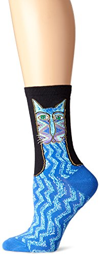 k-bell-calcetines-de-laurel-burch-bolso-tribal-zig-zag-cat-azul-acrilico-multicolor