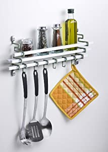 Assa Design Decorative Wall Mounted Spice Rack with Utensil Hooks(White) by Assa Design