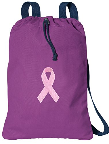Pink Ribbon Cotton Drawstring Bag Breast Cancer Awareness Soft Cotton Cool Purpl front-992293