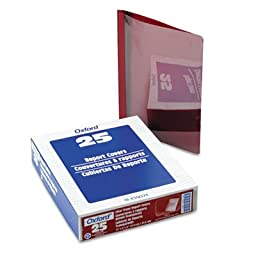 Premium Paper Clear Front Cover, 3 Fasteners, Letter, Red, 25/Box, Sold as 25 Each