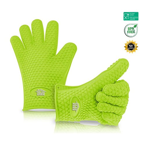 Home Heroes Silicone Cooking Kitchen Gloves Certified Food Grade Heat Resistant Silicon Glove for BBQ, Grilling, Baking, Oven or Toaster-Reinforces Cotton Gloves, 2 Piece (Candy Making Gloves compare prices)