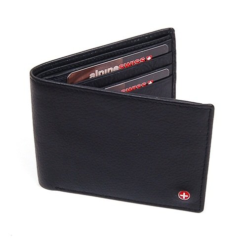Imagen de Mens Leather Wallet El tirón Ventana ID 11 ranuras para tarjetas 2 Bill Secciones Ventana ID capacidad extra Negro