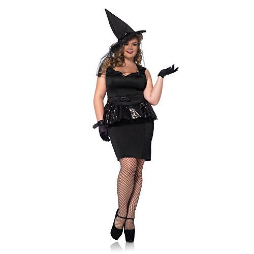 Women Plus Vintage Witch, Peplum Dress, Belt, Gloves, Hat With Veil Costume