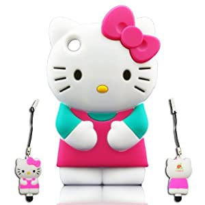 I-need Hello Kitty 3d Ipod Touch 4 Soft Silicone Case Cover Faceplate Protector with 3d Hello Kitty Stylus Pen for Itouch 4g 4th Generation, Green/pink