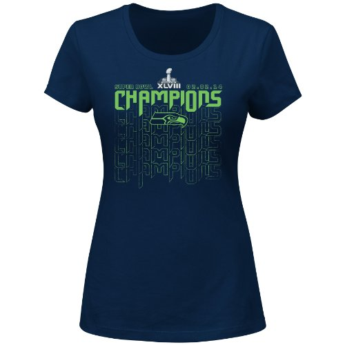 NFL Super Bowl Champion Women's Seattle Seahawks Victory Dive V T-Shirt, Large at Amazon.com