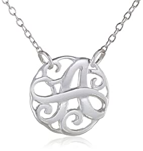 Sterling Silver Monogram Initial 'A' Pendant Necklace, 18""