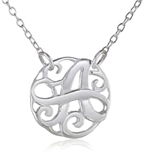 """Sterling Silver Monogram Initial 'A' Pendant Necklace, 18"""""""