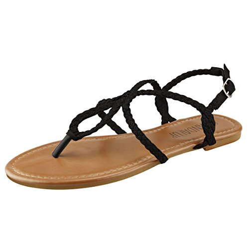 6fb4a905b Sandalup Women s Braided Strap Thong Flat Sandals