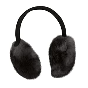 Vermont Collection - Women's Lucky Rabbit Earmuffs, Real Rabbit Fur, Black