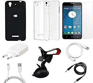 NIROSHA Tempered Glass Screen Guard Cover Case Charger USB Cable Mobile Holder for YU Yureka - Combo