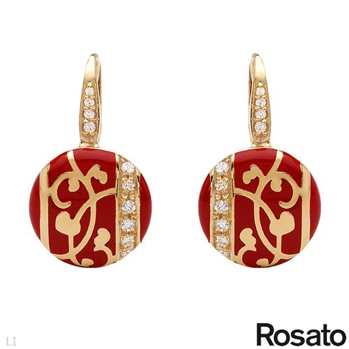 ROSATO Made in Italy Majestic Earrings With Cubic zirconia Crafted in Red Enamel and 14K/925 Gold plated Silver. Total item weight 5.9g Length 25mm