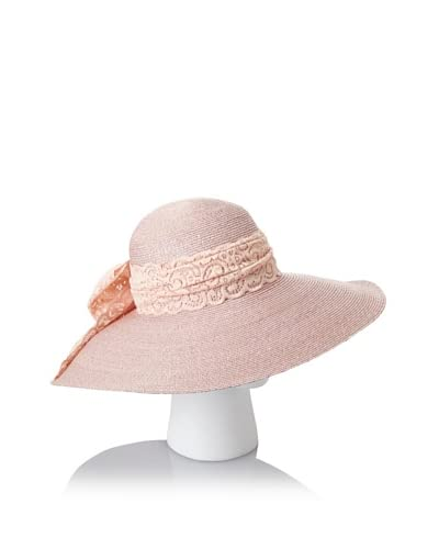 Giovannio Women's Milan Swinger Lace Bow Hat, Faded Pink