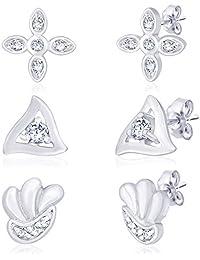 Taraash 925 Silver CZ Triangle, Shell & Floral Shape Earrings Combo CBER194I-002