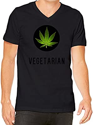 Vegetarian Cannabis Leaf Marijuana Weed Funny V-Neck T-Shirt For Men| Custom -Printed Tee| 100% Combed & Ring-Spun Cotton| Premium Quality DTG Printing| Unique Clothing For Men By Teezer Tee