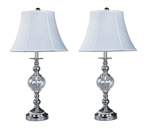 Park Madison Lighting PMT-1808-17 Contemporary Design 26-3/4-Inch Tall Table Lamp Set with Designer Clear Glass, Polished Nickel, 2-Piece