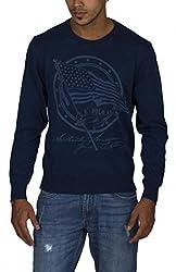 US POLO ASSOCIATION Men's Blended Sweater (USSW0462_Blue_Medium)