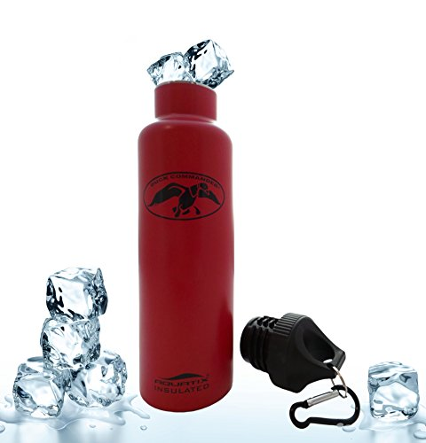 Red 21 Oz Duck Commander Ultimate Sport Bottles 21 Oz Personal Hydration Easy Best Ever Insulated Eco-friendly Water Bottle on Amazon Won't Leak or Sweat Try It Risk Free 100% Pure & Safe Stainless Steel Won't Rust or Crack, No Metal Taste, BPA & Toxin-free. Keep Drinks Cold 24 Hrs, Hot 12 Hrs Perfect for Yoga Soccer Basketball Fitness Exercise Football Golf Outdoor Hiking Rock Climbing Hunting Fishing Softball Baseball Maximum Chill Factor