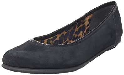 Clarks Women's Book Pump Flat,Black Suede,8 N US