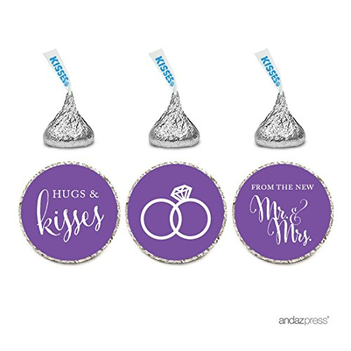 Andaz Press Chocolate Drop Labels Stickers, Wedding Hugs & Kisses from the New Mr. & Mrs., Royal Purple, 216-Pack, For Bridal Shower Engagement Hershey's Kisses Party Favors Decor