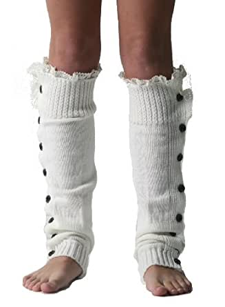 OFF WHITE IVORY Slouchy Knit Button Up Lace Leg Warmers Boot Covers At Amazon Womenu2019s Clothing ...