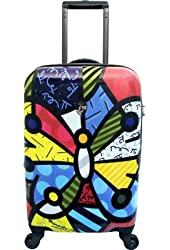 """Heys USA Romero Britto Butterfly Design 22"""" Carry On Spinner Luggage"""
