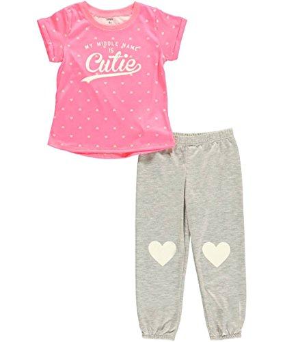 Carter'S Little Girls' 2 Piece Pant Pj Set (Toddler/Kid) - Gray Heart - 5T front-157667