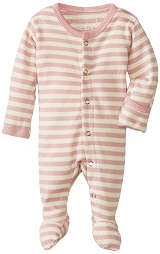 L'Ovedbaby Unisex-Baby Organic Cotton Gloved-Sleeve Footed Overall, Mauve/Beige, Newborn front-632404