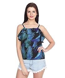 ELI Multicolour Feather Print Western wear Casual Women Top