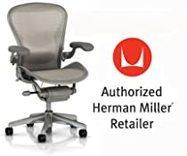 Hot Sale Herman Miller Aeron Chair Highly Adjustable with Lumbar Support Pad with C7 Hard Floor Casters - Medium Size (B) Titanium Smoke Light Frame, Wave Quartz Pellicle Mesh Home Office Desk Task Chair