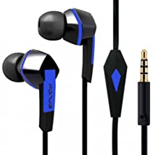 buy Premium Sound Earphones Hands-Free Tangle Free Flat Wired Blue/Black Headset Dual Earbuds With Microphone For Us Cellular Lg G3, Us Cellular Lg Optimus F7, Us Cellular Lg Optimus U, Us Cellular Lg Splendor, Us Cellular Lg Banter Touch Un510, Us Cellular S