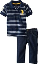 U.S. Polo Assn. Baby-Boys Infant Striped Polo and Five Pocket Denim Pant, Classic Navy, 24 Months