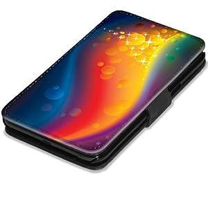 Abstrait 10001, Coloré, Etui Personnalisé Coque Housse Cover Coquille en Cuir Noir avec l'Image Coloré pour Samsung Galaxy Note 2 N7100.
