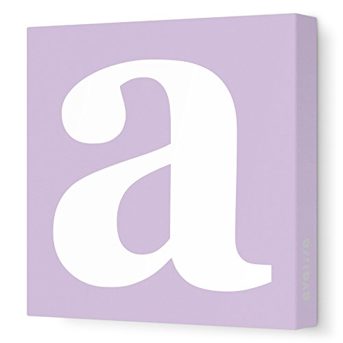 """Avalisa Stretched Canvas Lower Letter A Nursery Wall Art, Lilac, 12"""" X 12"""" front-902369"""