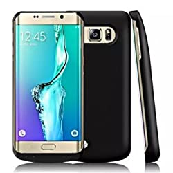 S6 Edge Plus Battery Case, Maxdara 4200 Mah External Backup Battery Charger Cover Case For Samsung Galaxy S6 Edge Plus Rechargeable Power Bank Case - (Black)