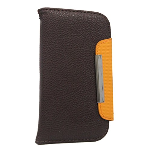 Jo Jo Z Series Magnetic High Quality Universal Phone Flip Case Cover Stand For  Apple Iphone 5S (16Gb) Brown Orange