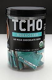 TCHO Organic Mokaccino Mini Milk Chocolate Bars, 8g (Tub of 40)