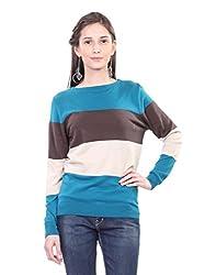 Kalt Women's Cotton Sweater (W115 GM XS _Green Multi_X-Small)