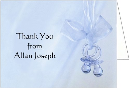Blue Binkies Baby Thank You Cards - Set of 20