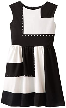 Blush by Us Angels Big Girls' Colorblock Dress with Stud Details, Black/Ivory, 7