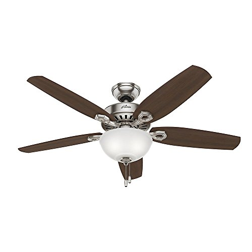 Hunter 53090 Builder Deluxe 5-Blade Single Light Ceiling Fan with Brazilian Cherry/Stained Oak Blades and White Cased Glass Light Bowl, 52-Inch, Brushed Nickel (52 Brushed Nickel Ceiling Fan compare prices)