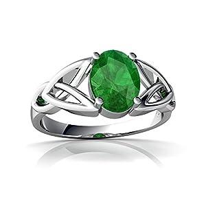 Genuine Emerald 14kt White Gold celtic Ring - Size 5.5