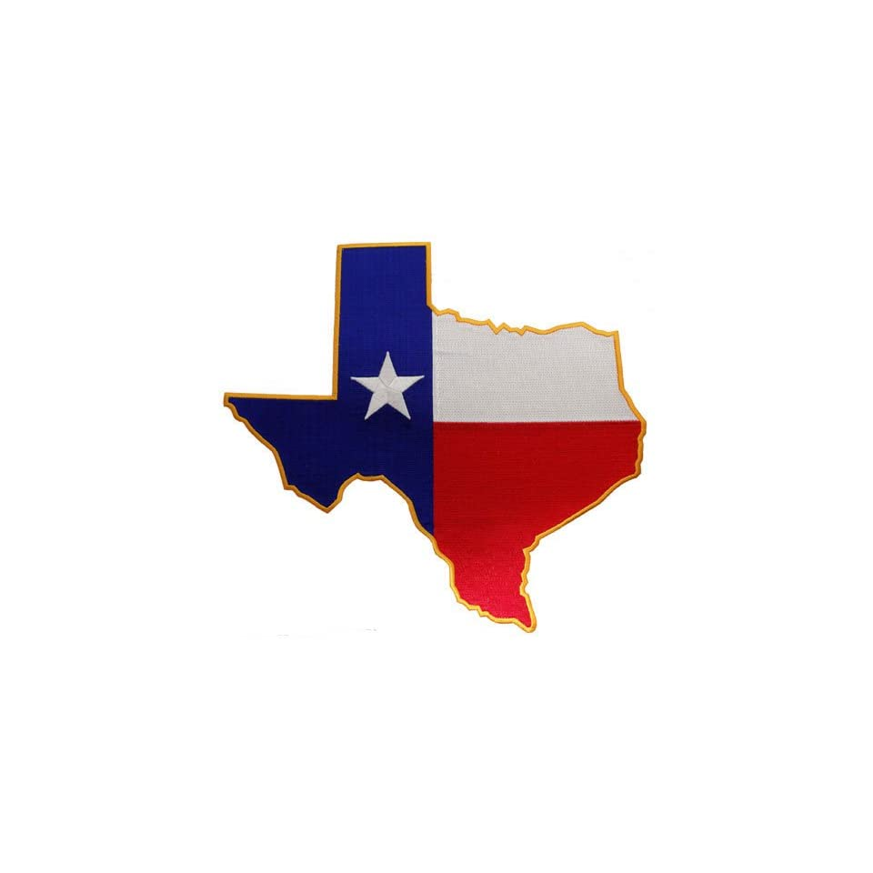 Large Texas Shape Flag Embroidered Patch Lone Star State