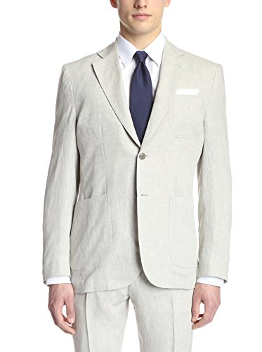 Hardy Amies Men's 2 Button Patch Pocket Notch Lapel Linen Sportcoat