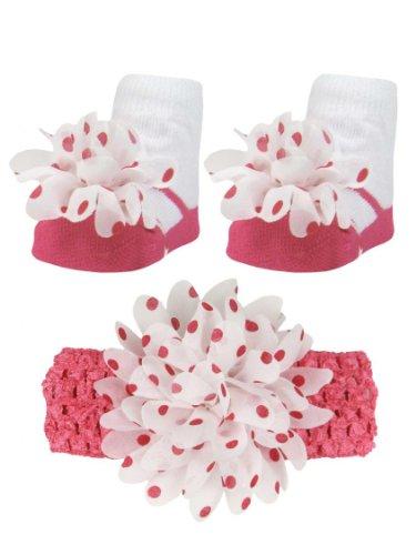 Baby Girls Hot Pink And White Polka Dot Headband & Mary Jane Bootie Socks Set
