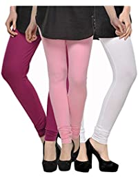 Kjaggs Women's Cotton Lycra Regular Fit Leggings Combo - Pack Of 3 (KTL-TP-18-19-3, Light Pink, Purple, White)