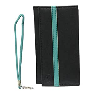 Jo Jo A5 Nillofer Leather Wallet Universal Pouch Cover Case For lyf earth 1 Black Light Blue