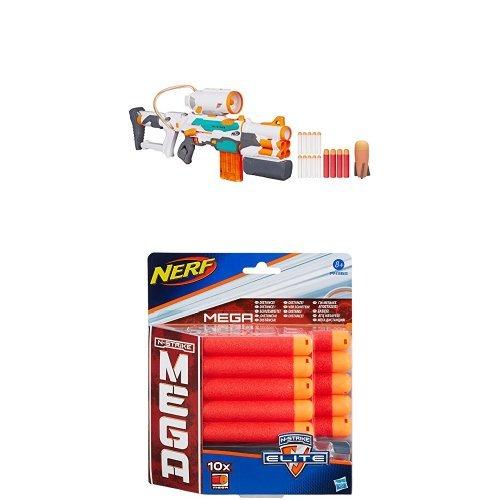 Nerf - Gioco Modulus Tri-Strike +  Nerf Mega - Ricarica 10 Dardi