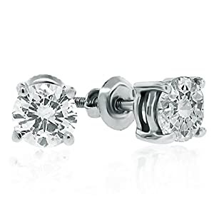 14K White Gold Round Diamond Stud Earrings (1 cttw)